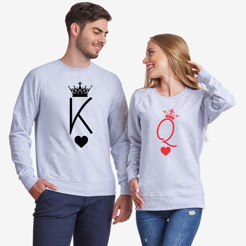 Bluze pentru cupluri King and Queen Symbols gri