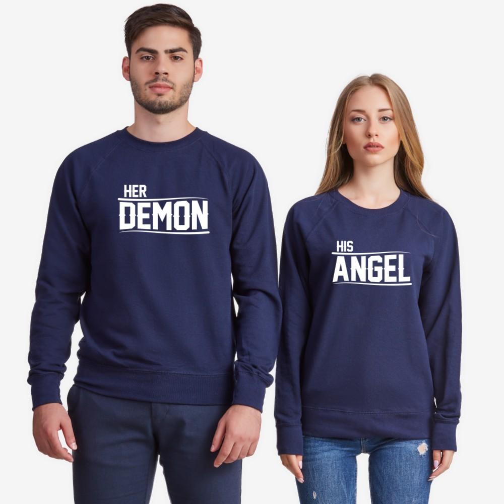 Bluze pentru cupluri Her Demon and His Angel albastru inchis