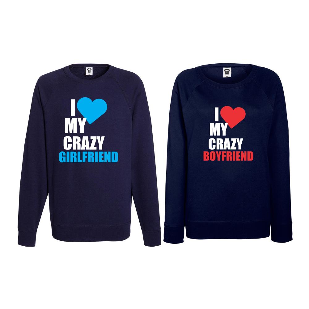 Set bluze pentru cupluri I Love my Crazy BoyFriend albastru inchis