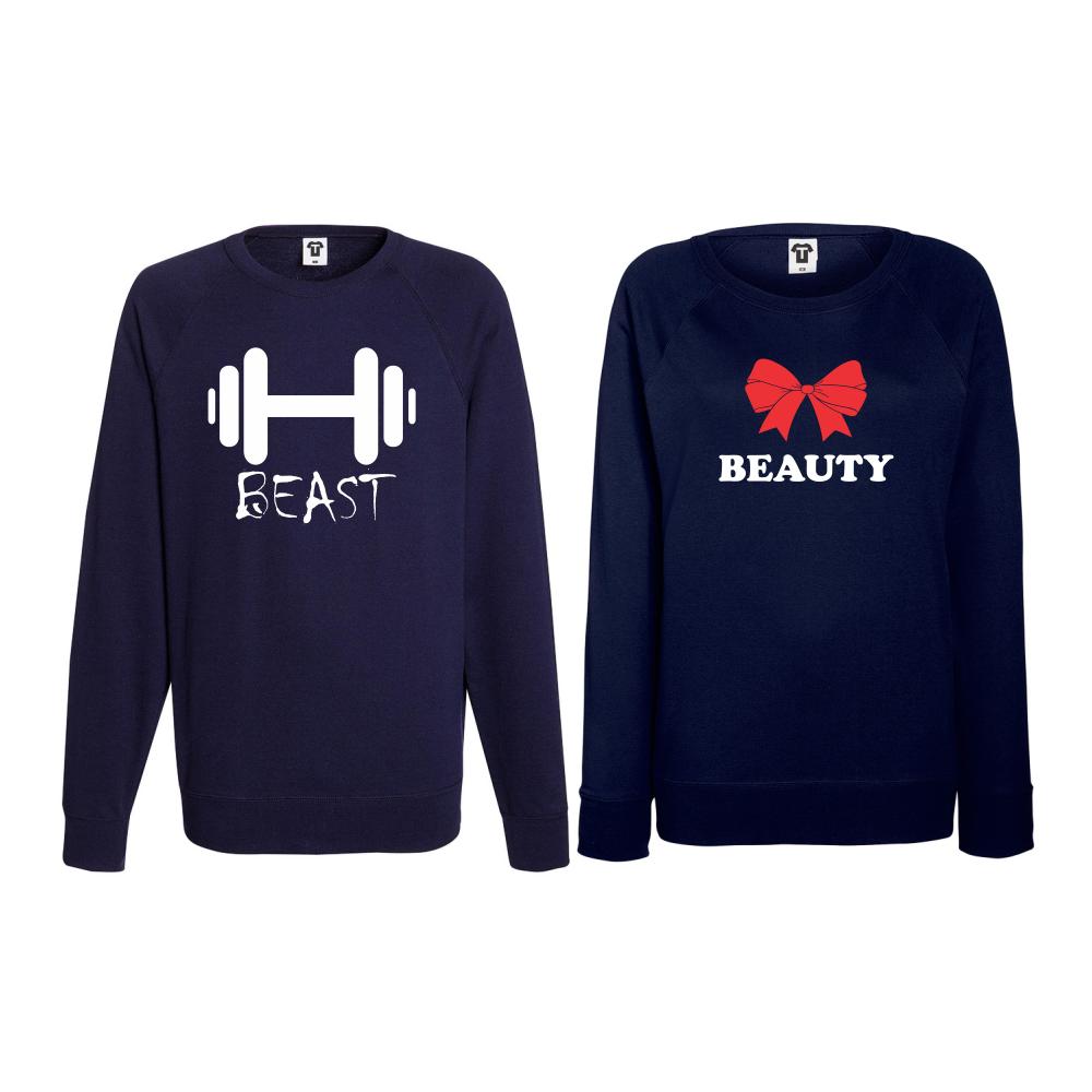 Set bluze pentru cupluri Beast and Beaty 2 albastru inchis
