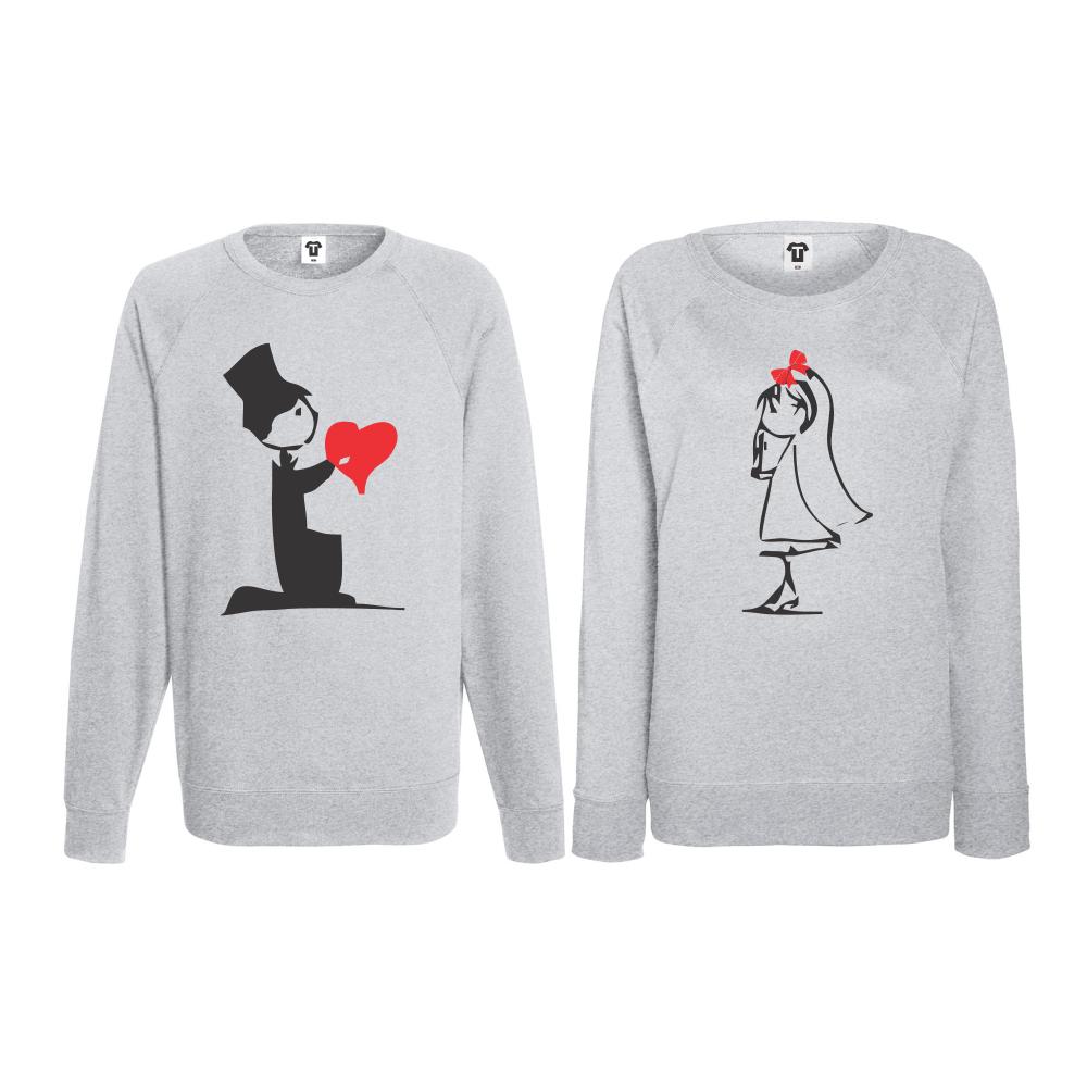 Set bluze pentru cupluri Cute Couple gri