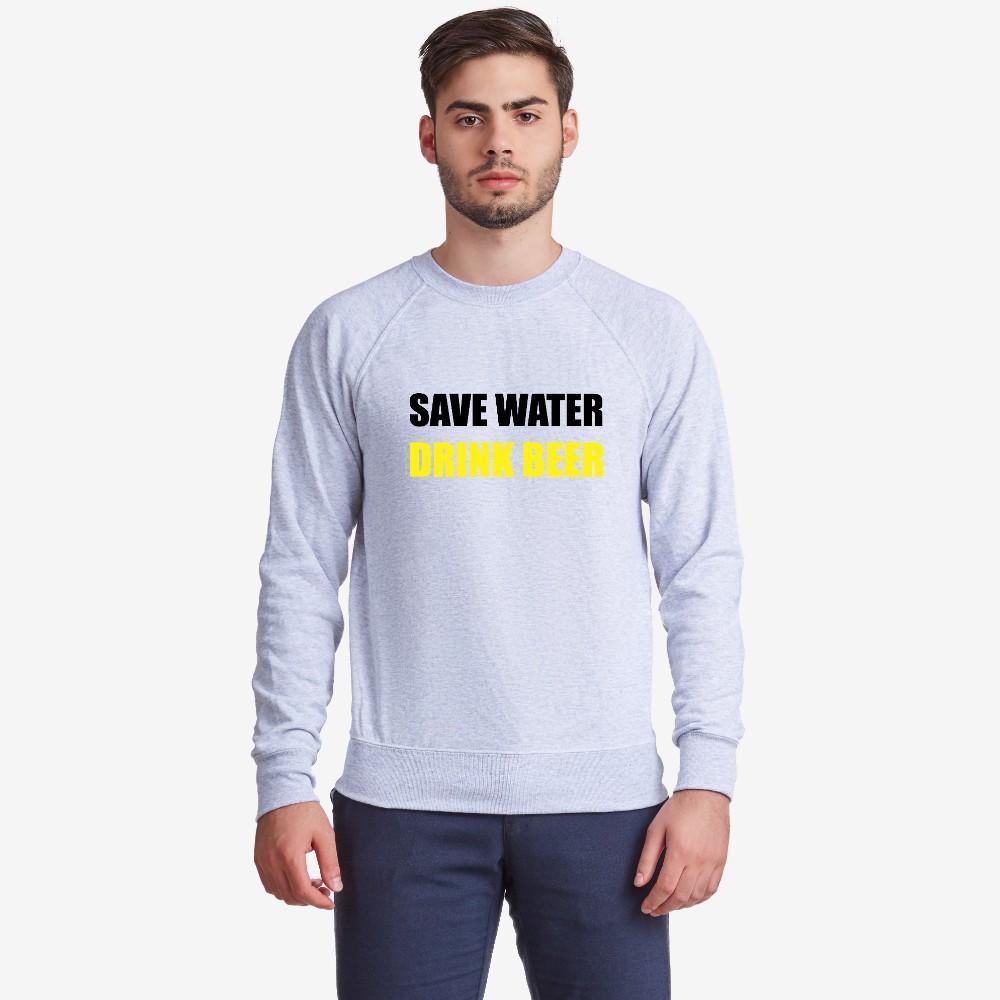 Bluza de barbat Save Water Drink Beer gri