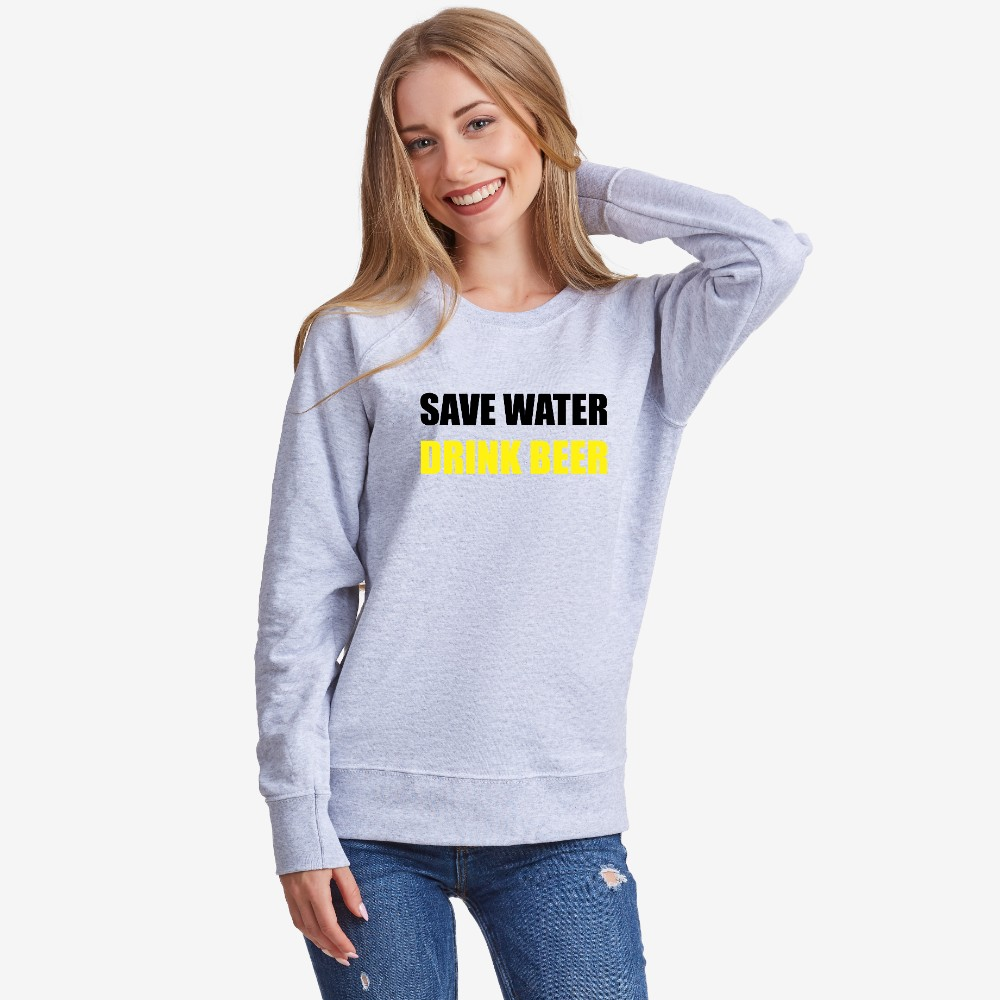 Bluza de dama Save water Drink Beer gri