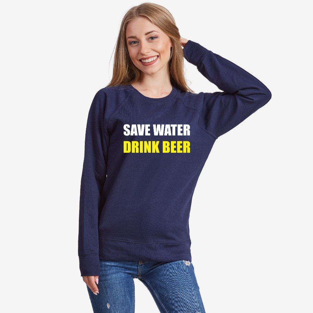 Bluza de dama Save water Drink Beer albastru inchis