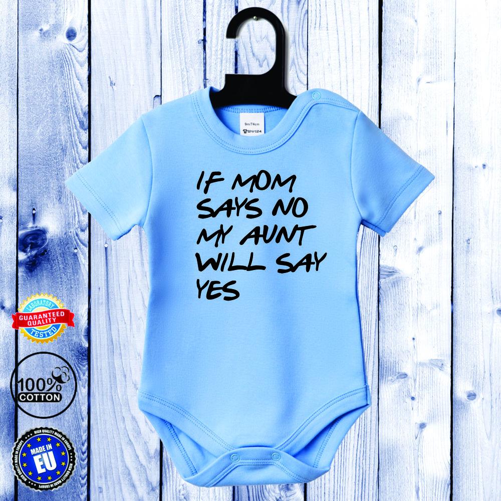 Body bebelusi cu maneca scurta albastru azur Aunt will say yes
