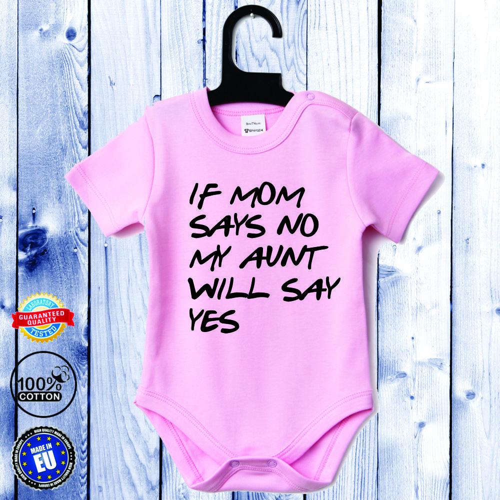 Body bebelusi cu maneca scurta roz Aunt will say yes