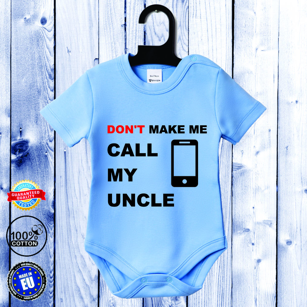 Body bebelusi cu maneca scurta albastru azur Call my Uncle