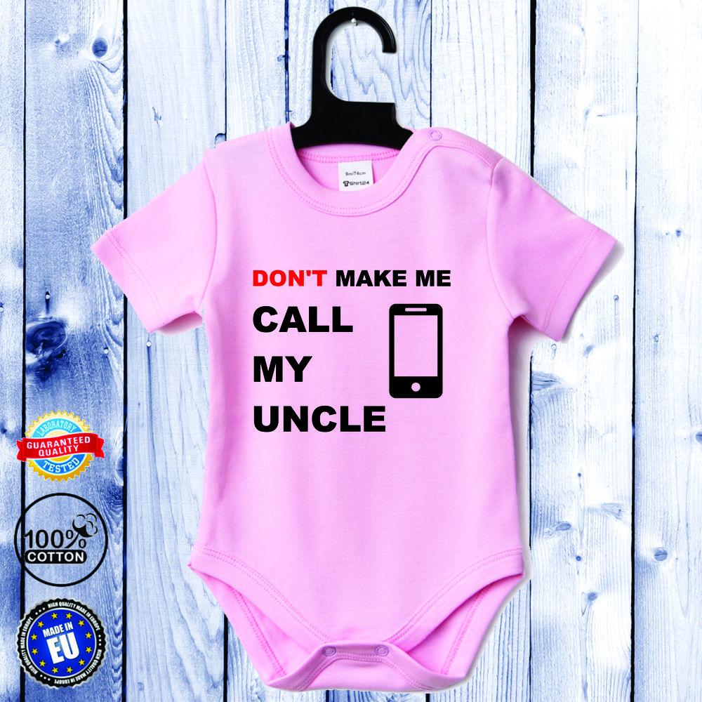 Body bebelusi cu maneca scurta roz Call my Uncle
