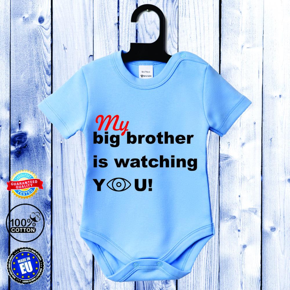 Body bebelusi cu maneca scurta albastru azur Big Brother