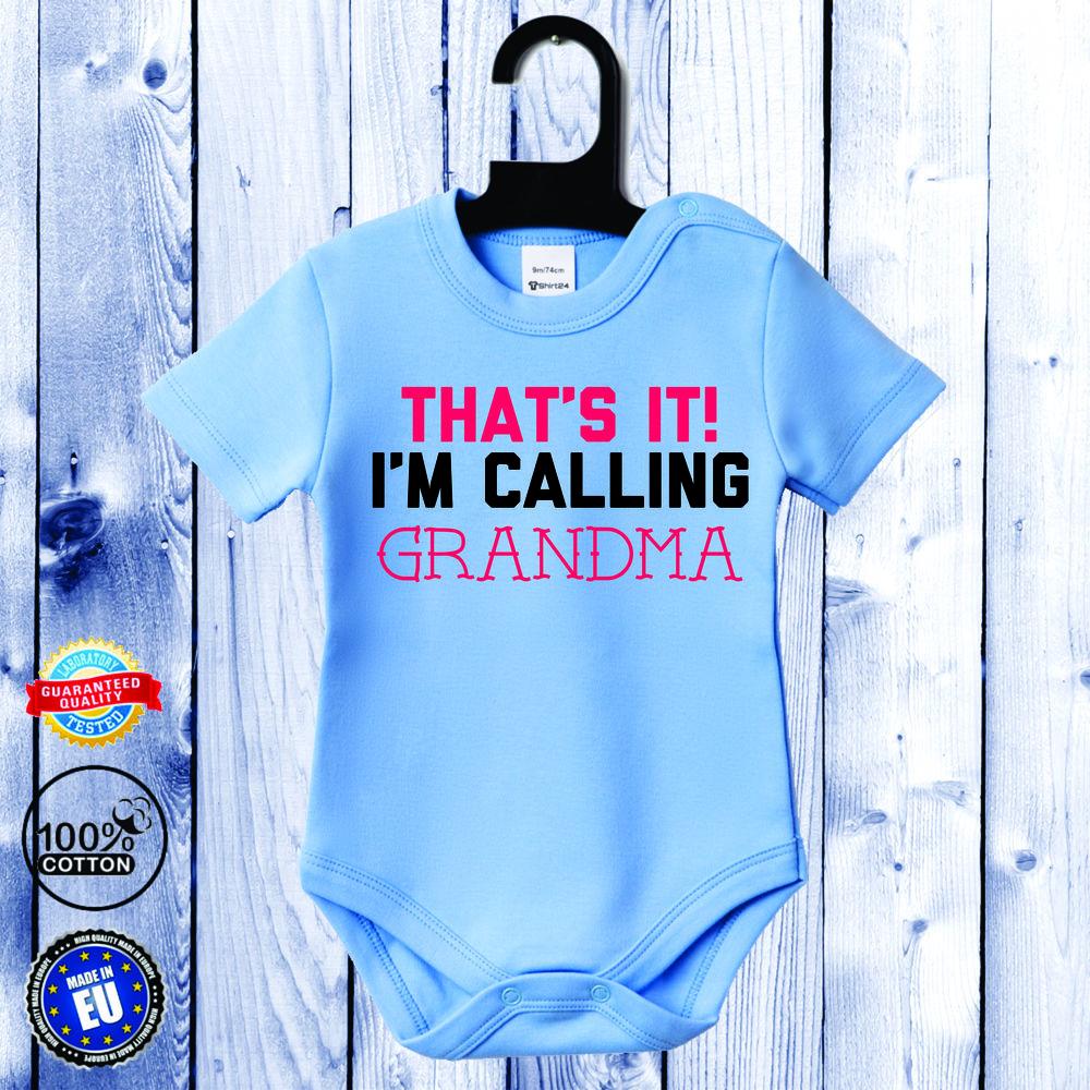 Body bebelusi cu maneca scurta albastru azur I'm calling GRANDMA