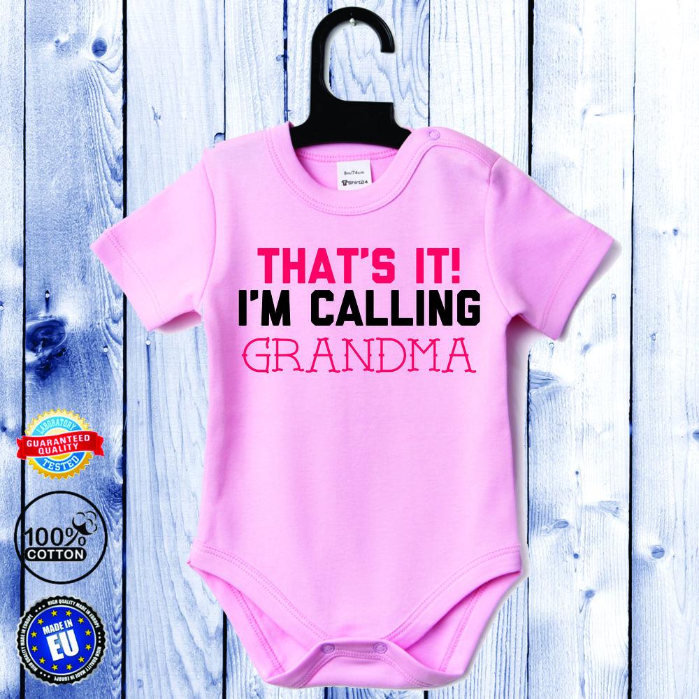 Body bebelusi cu maneca scurta roz I'm calling GRANDMA