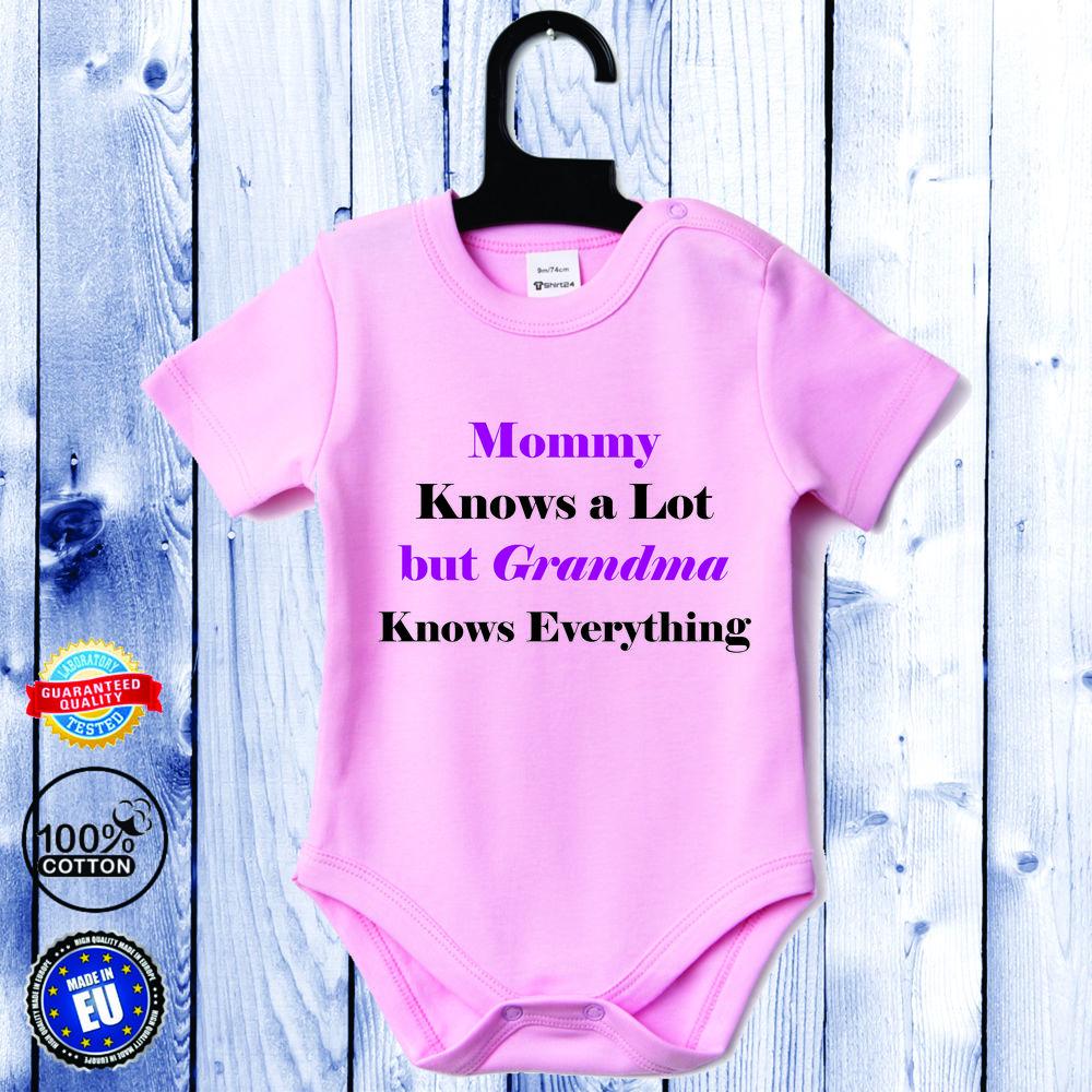 Body bebelusi cu maneca scurta roz Grandma Knows Everything