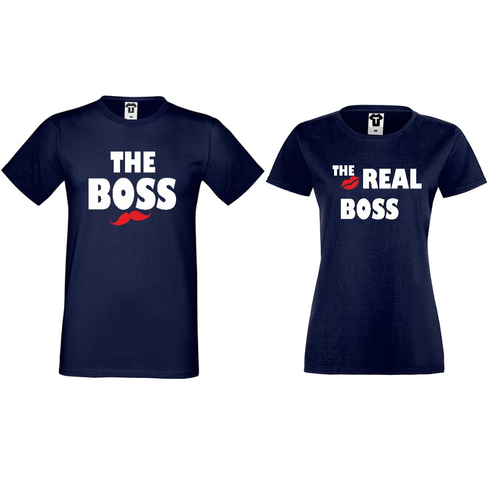 Tricouri pentru cuplu albastru inchis The Real Boss Kiss
