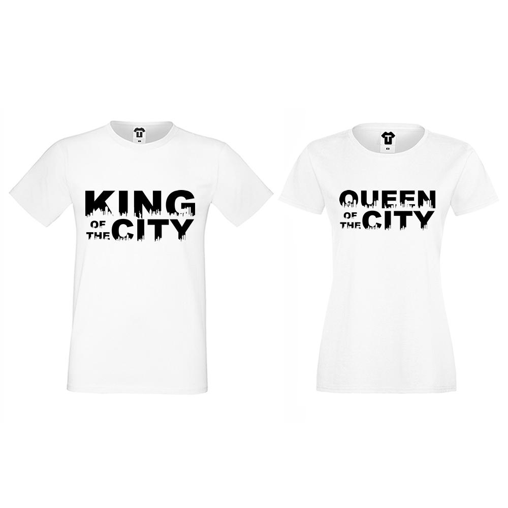 Tricouri pentru cupluri King Queen of the city