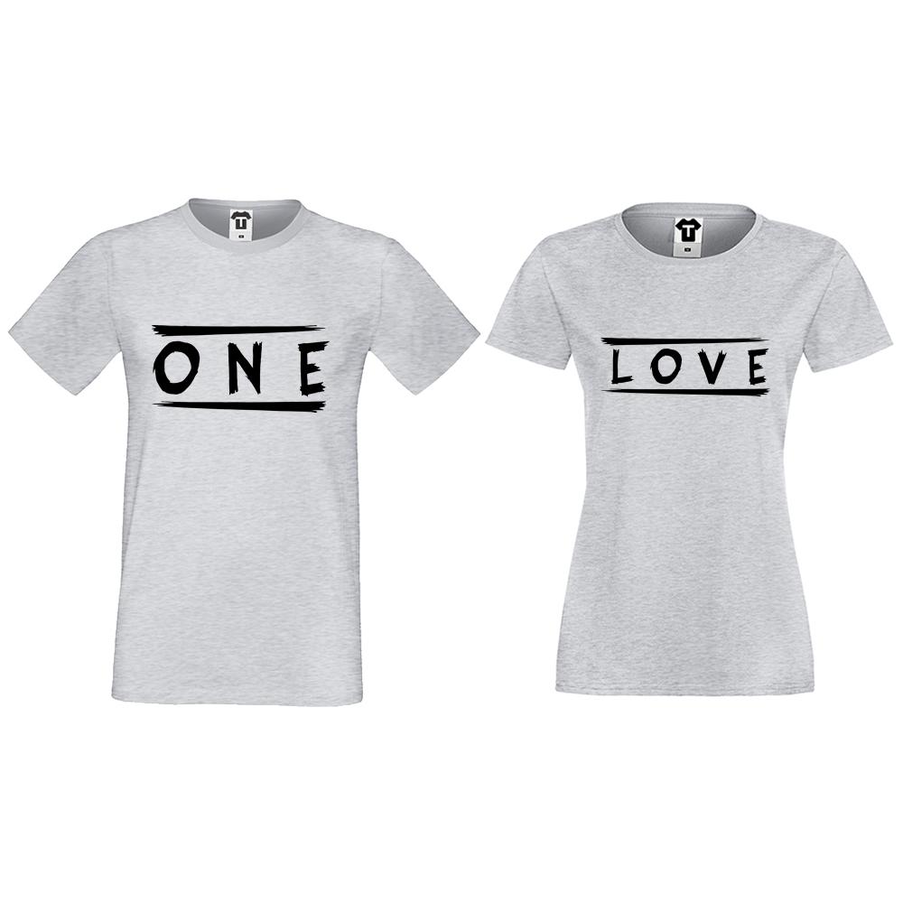 Tricouri pentru cupluri gri One Love