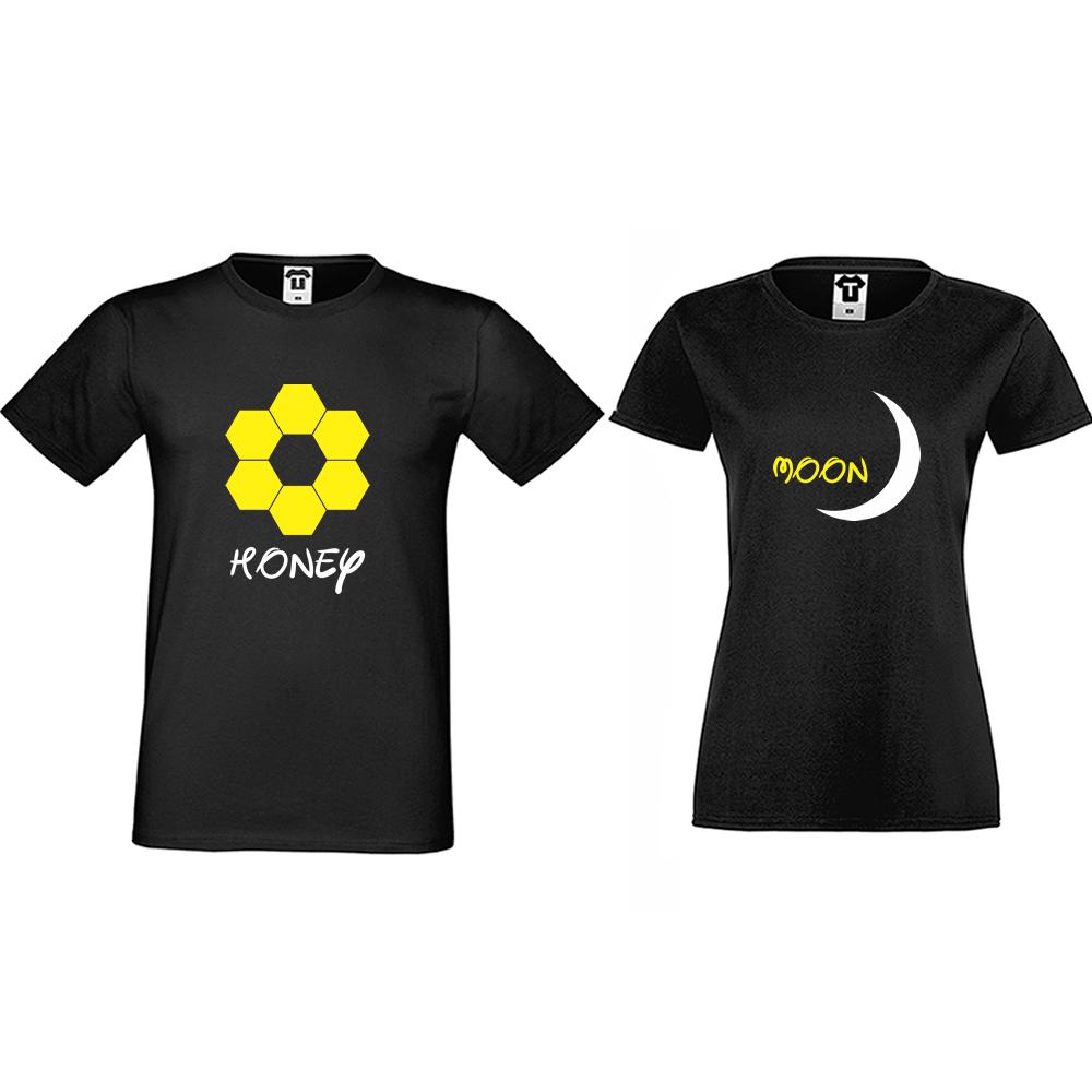 Tricouri pentru cupluri negru Honeymoon
