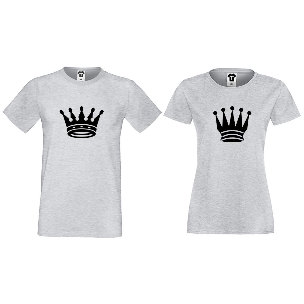 Tricouri pentru cupluri gri Big Crowns