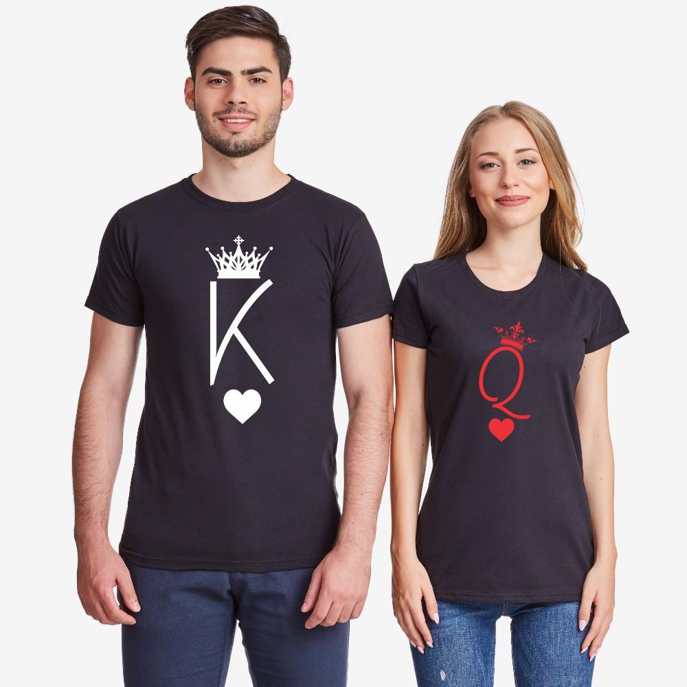 Tricouri pentru cuplu King and Queen Symbols negru