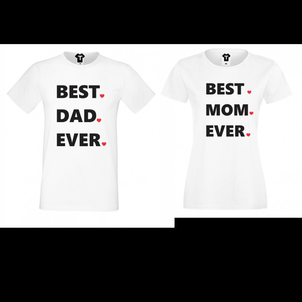Tricouri pentru cupluri Best Dad and Mom Ever