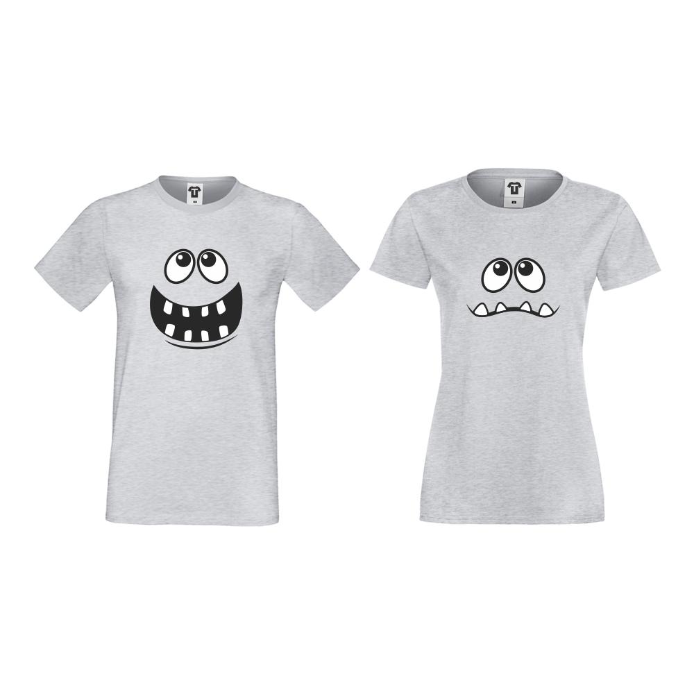 Tricouri pentru cupluri gri Full Smile