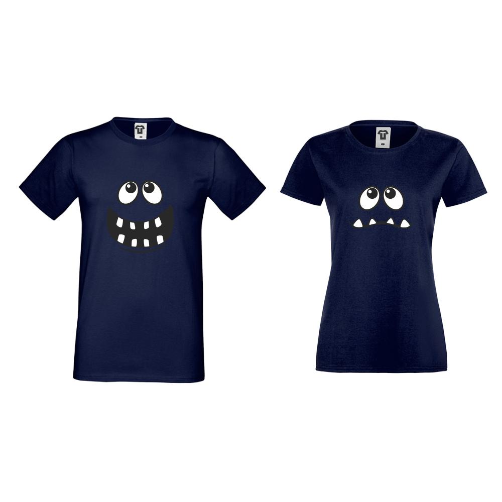 Tricouri pentru cupluri albastu inchis Full Smile