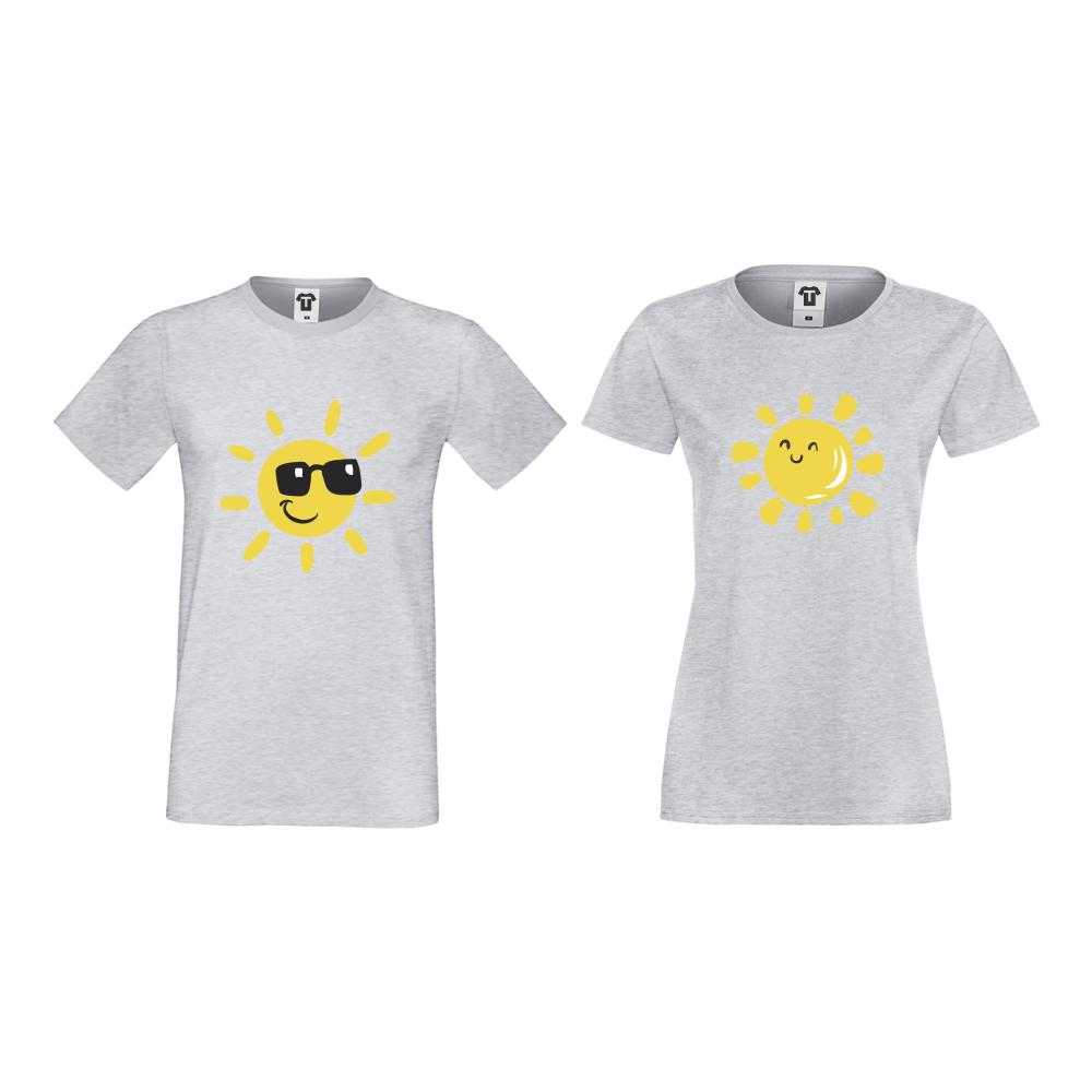 Tricouri pentru cupluri gri Sun, Smile and Sunglasses