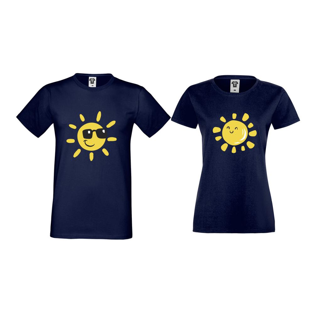 Tricouri pentru cupluri albastu inchis Sun, Smile and Sunglasses