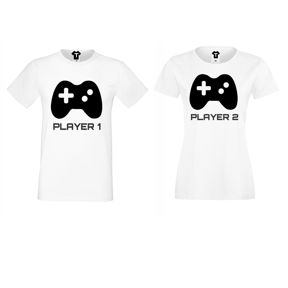 Tricouri pentru cupluri Player 1 - Player 2 - alb