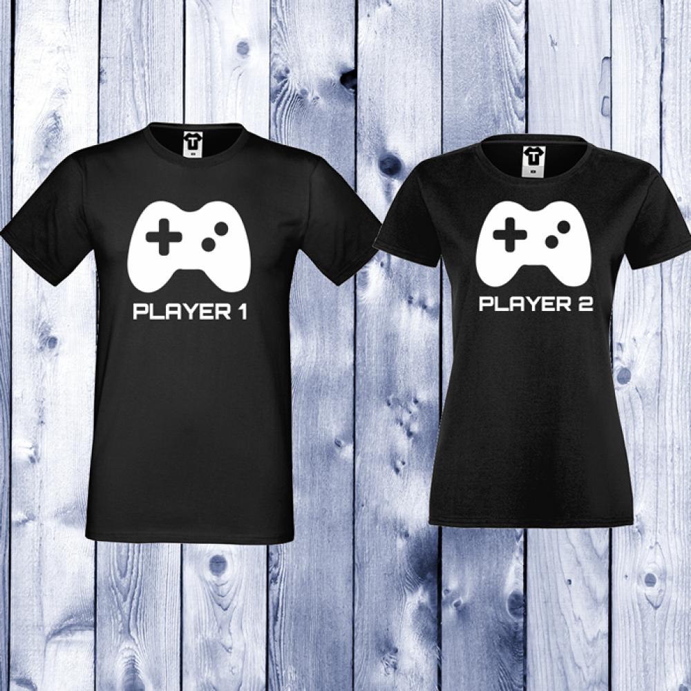 Tricouri pentru cupluri Player 1 - Player 2