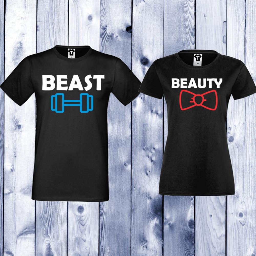 Tricouri pentru cupluri Beast and Beauty - negru