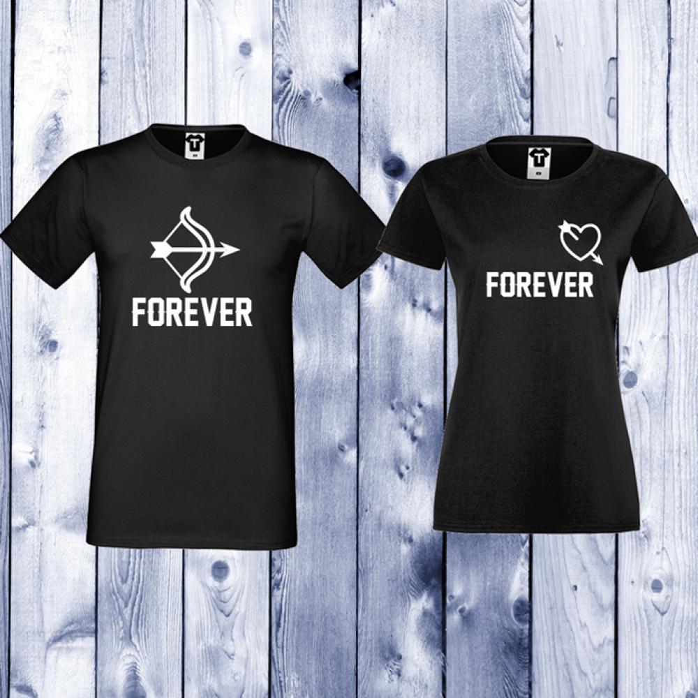 Tricouri pentru cupluri Forever Arrows - negru