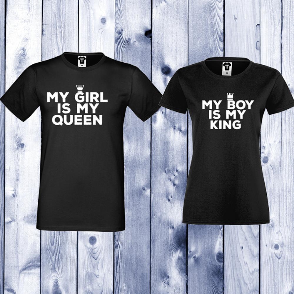 Tricouri pentru cupluri My Girl Is My Queen - Negru