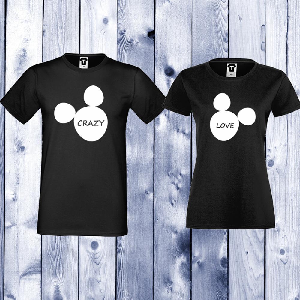 Tricouri pentru cupluri Crazy Lovee - Negru