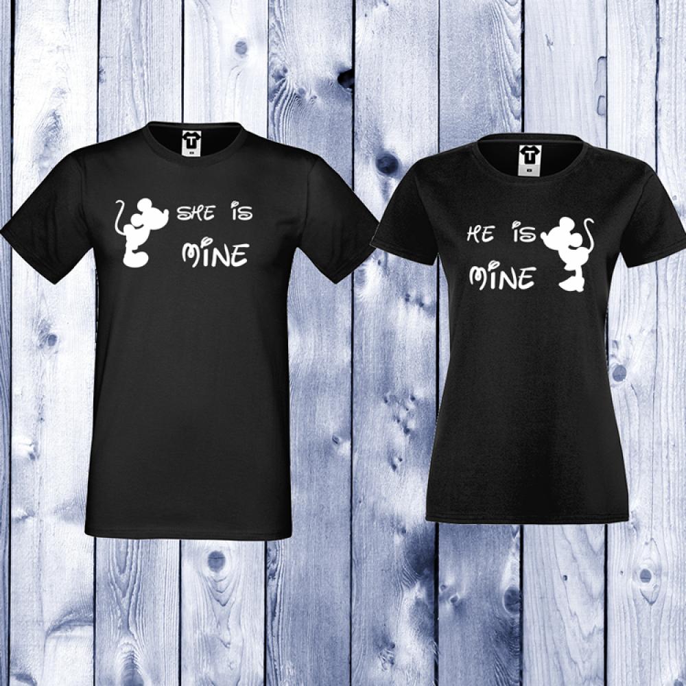 Tricouri pentru cupluri She is Mine - He is Mine - Negru