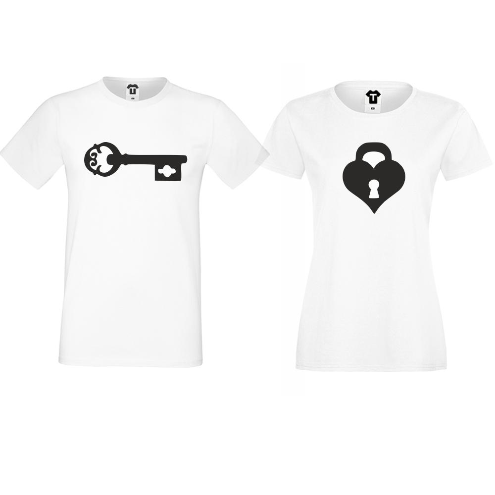 Tricouri pentru cupluri The key for my heart alb