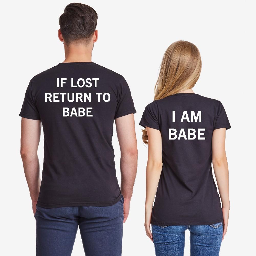 Tricouri pentru cupluri IF LOST negru