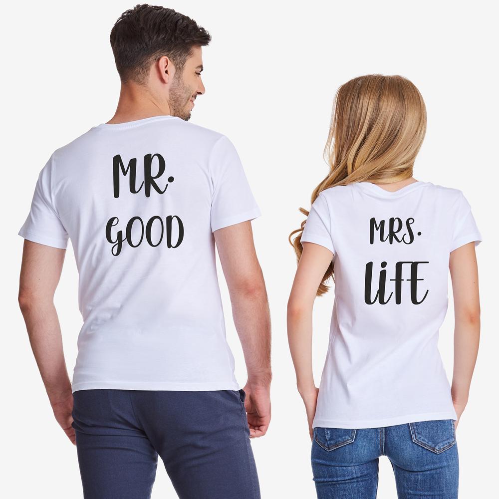 Tricouri pentru cuplu Mr Mrs Good Life alb