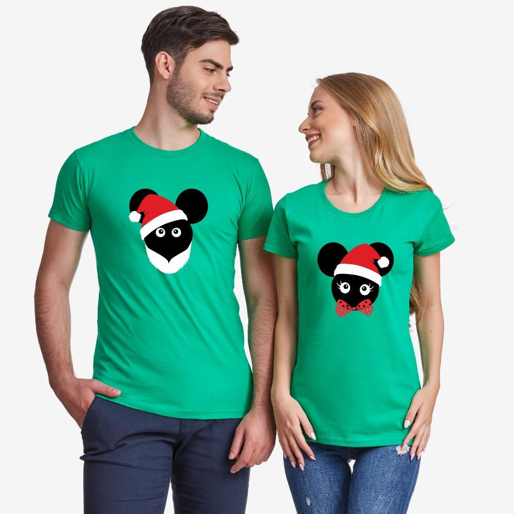 Tricouri pentru cuplu Christmas Mouse