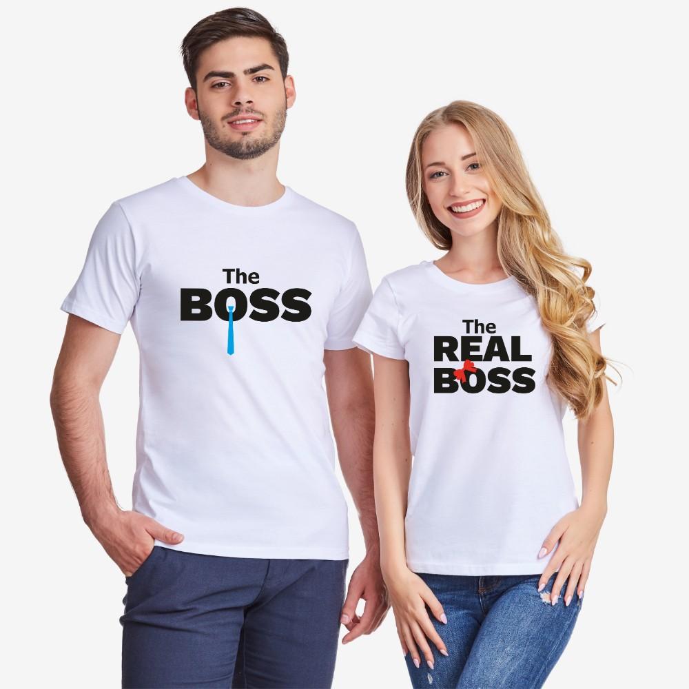 Tricouri pentru cuplu The Real Boss Tie alb