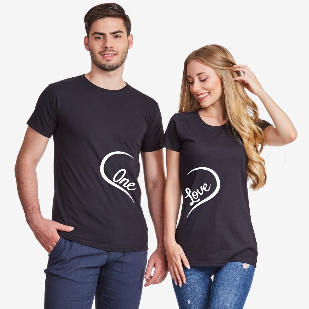 Tricouri pentru cuplu One Love  negru