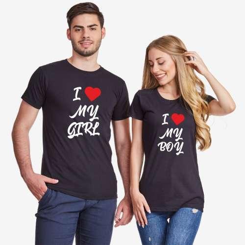 Tricouri pentru cuplu I Love My Boy 2019 negru