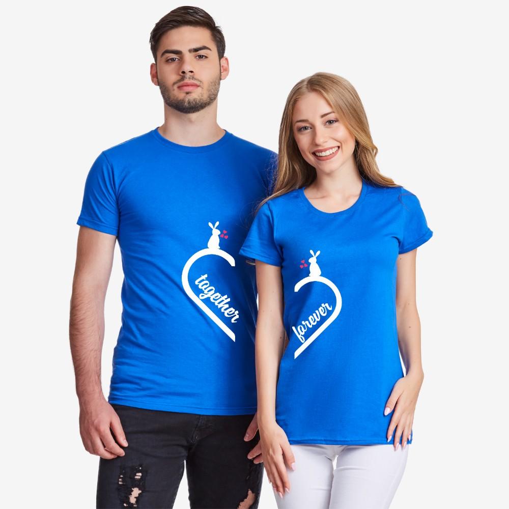 Tricouri pentru cuplu Together Forever Bunny albastru