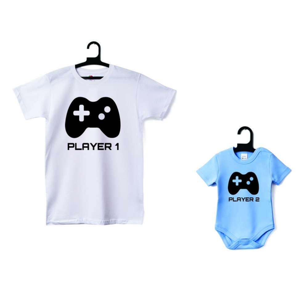 Set - Tricou de tata si body bebelusi Player 1 - Player 2
