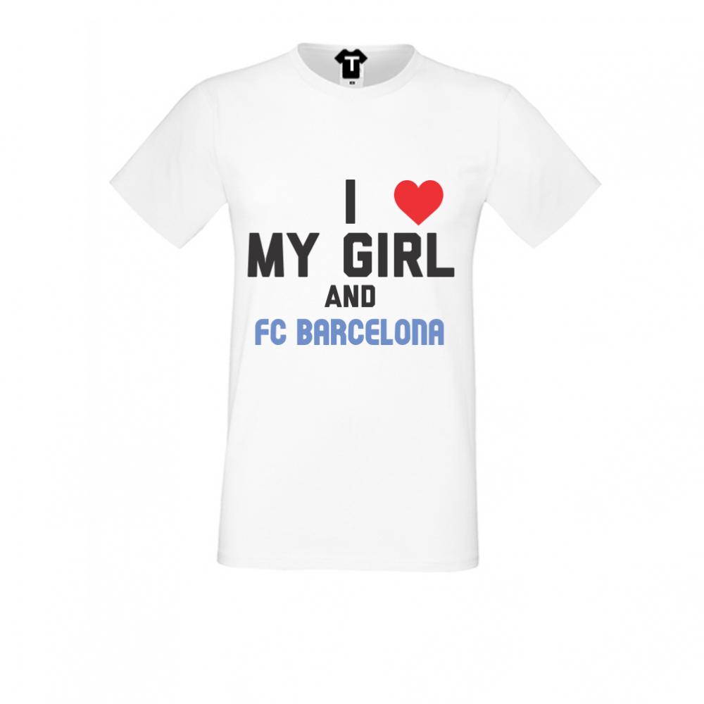 Tricou de barbat alb My Girl and Barcelona