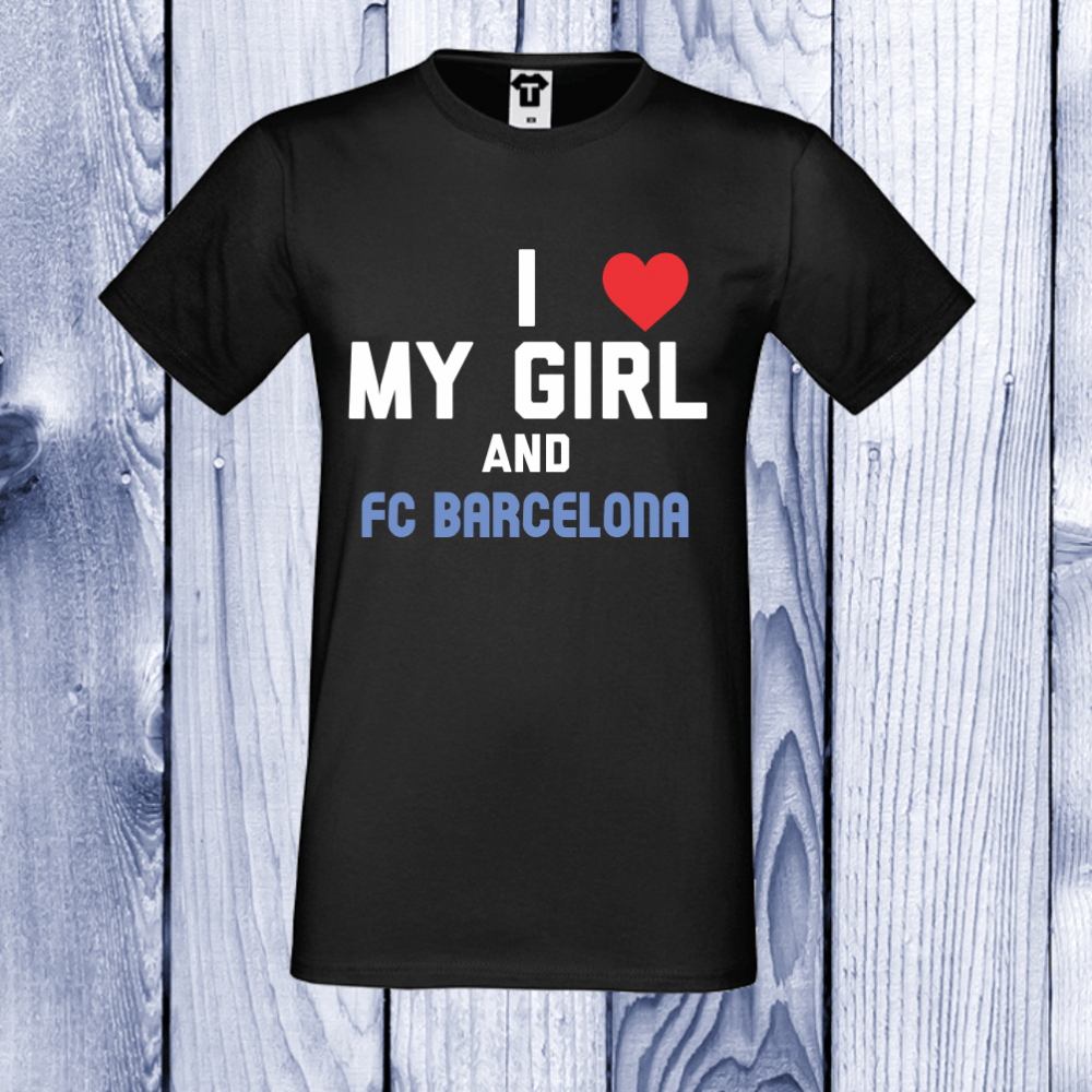 Tricou de barbat negru My Girl and Barcelona