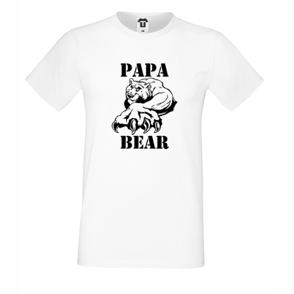 Tricou de barbat pe alb sau negru Papa Bear