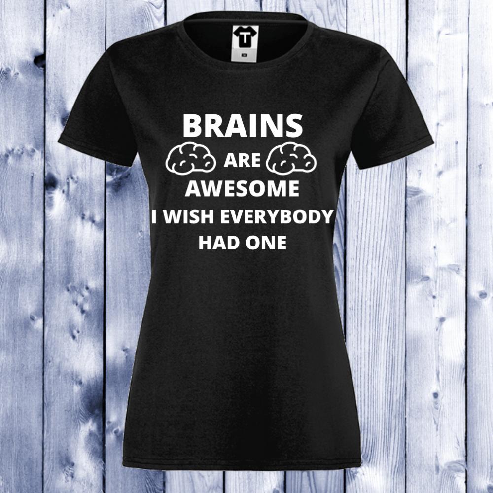 Tricou de dama negru Brains