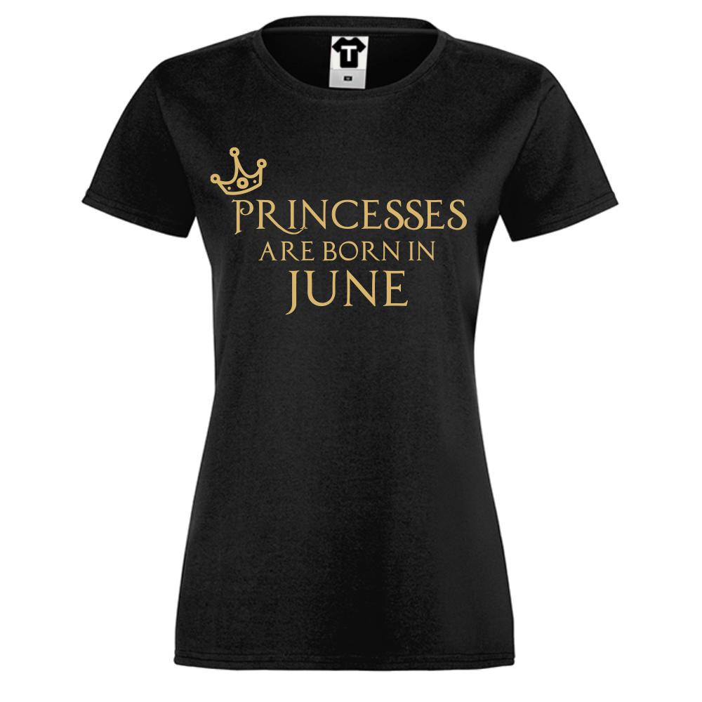 Tricou de dama negru Princesses Are Born In June