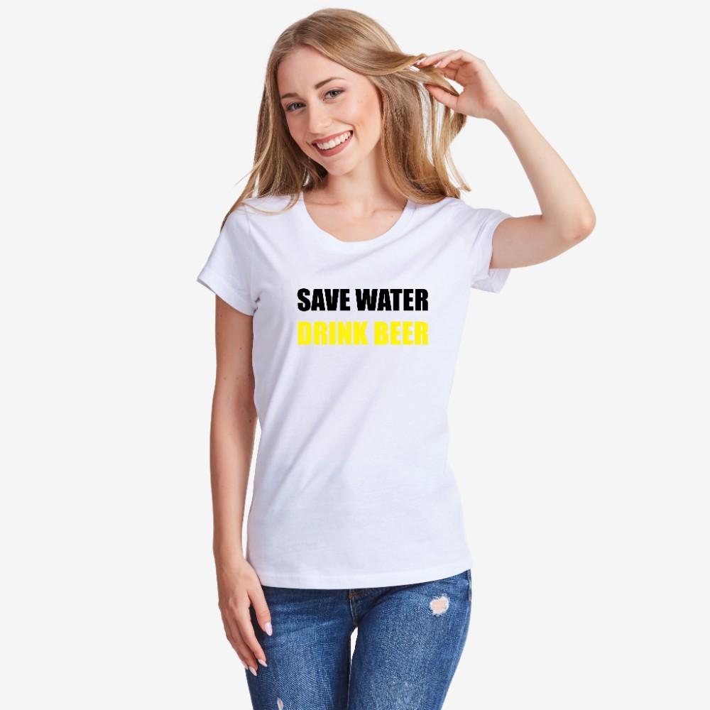 Tricou de dama Save Water Drink Beer alb