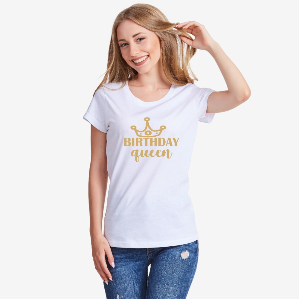 Tricou de dama Birthday Queen alb